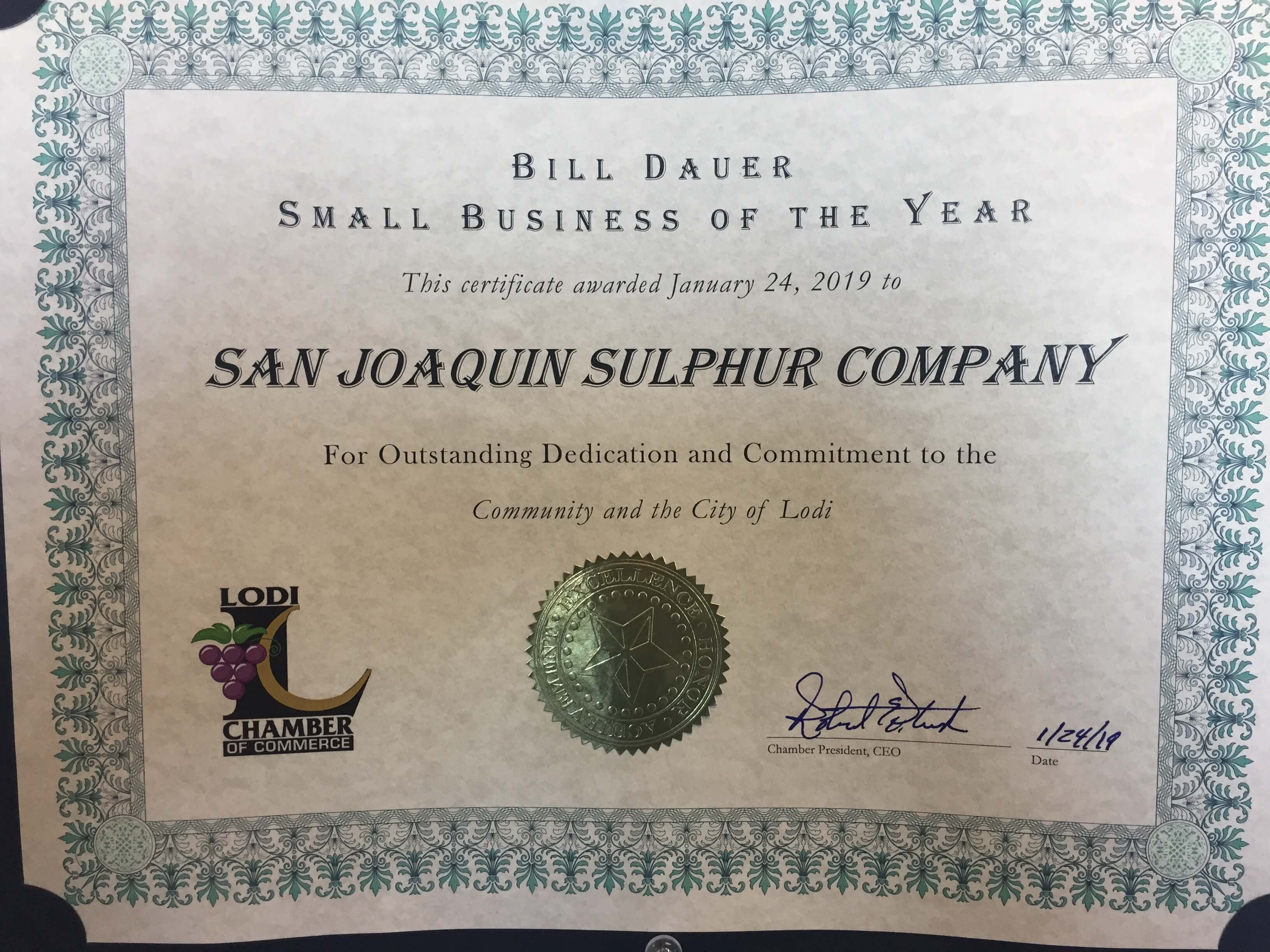 Awarded Small Business of the Year